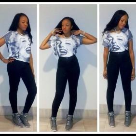 Marilyn Monroe T-Shirt, Black Easy Jean, and Wedge Sneaker