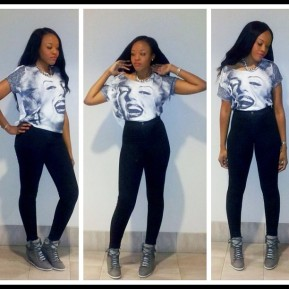 Marilyn Monroe T-Shirt, Black Easy Jean, and Wedge Sneaker