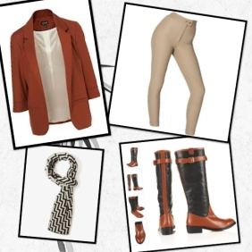 Topshop -  Blazer,  Scarf – Forever 21 Bias Chevron Stripe Scarf, TopShop:  Riding Boots - DUKE Smart Military Boots and Riding Pants - American Apparel:  Riding Pant Taupe