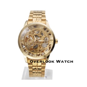 GOLD ON GOLD SKELETON WATCH
